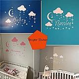 Nome personalizado nuvem lua estrelas adesivos de parede de vinil arte mural decalques para criancas decoracao do quarto do bebe decoracao do quarto das meninas