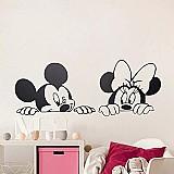 Parede dos desenhos animados adesivos criancas quarto art decor decalques da parede do vinil da arte do bercario bonito mickey minnie mouse bebe