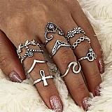 Anel zero 501 2019 moda 10 pcs/set mulheres bohemian vintage aneis pilha de prata acima knuckle aneis azuis conjunto de luxo livre gratis