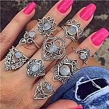 Tempo zero 501 2019 moda 9 aneis set de moda de nova boemia mulheres liga aneis de dedo do anel do punk do vintage de presente de luxo frete gratis