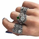 Tempo zero 501 2019 moda 12 pc mulheres bohemian vintage prata aneis de pilha de cristal acima knuckle aneis set de luxo livre gratis