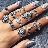 Anel prateado tempo zero 501 2019 moda luxo 14 pcs/set mulheres bohemian vintage aneis pilha de prata acima knuckle aneis azuis set free gratis