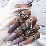 Anel  zero 501 nova moda 11 pcs/set mulheres bohemian vintage aneis pilha de prata acima knuckle aneis azuis conjunto de luxo livre gratis