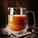 Caneca de cafe com alca isolamento duplo 250ml canecas bebendo presente criativo parede dupla de vidro do copo de cha copos de leite