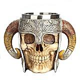 Caneca de aco inoxidavel viking guerreiro cranio com chifres 500ml