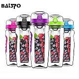Garrafa de água shaker 900ml infusor de frutas baispo