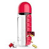 Garrafa de água 600ml com caixa de comprimidos semanal