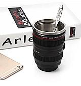 Caneca de cafe criativa design de lente de camera com tampa