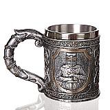 Caneca de cafe de aco inoxidavel cavaleiro templario 450ml