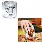 Copo de shot e dose halloween cranio caveira de vidro duplo transparente 25ml
