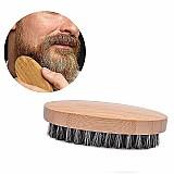 Escova modeladora de barba em madeira cerdas naturais de javali