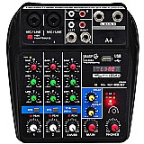Mesa de som áudio mixer 4c interface usb bluetooth fx delay