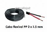 Cabo pp 2 x 1.5 mm flexivel rolo 2 vias preto com 10 metros