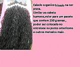 Cabelo orgânico frisado na cor preta