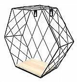 Prateleira gaiola estante hexagono metal aramado e madeira preto 29cm