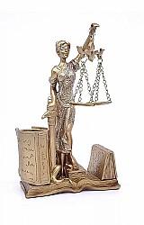 Porta caneta deusa dama da justica themis estatua direito porta caneta