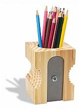 Organizador porta lapis e caneta apontador de madeira pinus