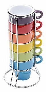 Xicaras de cafe 6 pecas coloridas com suporte