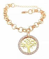 Pulseira feminina e pingente medalha strass árvore da vida folheado a ouro