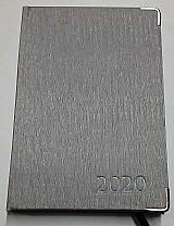 Agenda 2020 diaria luxo costurada aco escovado prata