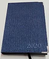 Agenda 2020 diaria luxo costurada aco escovado azul brochura