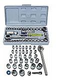Jogo de soquete chave catraca reversivel 1/4 - 40 pecas marca equipa tools modelo sq-040 tipo de chave soquete