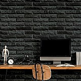 Papel de parede rustico tijolos pretos adesivo lavavel 3 m