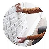 Placas decorativas de pvc 3d revestimento pedra 50cm x 50cm