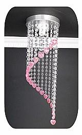 Lustre cristal acrilico infantil coracoes quarto menina rosa marca belle lumiere modelo 16x16x50 cm