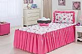 Colcha feminino rosa cama de solteiro cup kaique 4 pcs    marca d biels enxovais     modelo colcha solteiro