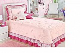 Kit solteiro colcha cobre leito bailarina 4 pecas lilas rosa  marca bordadosmy modelo bailarina