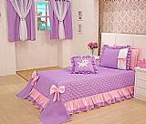 Colcha e cortina solteiro infantil 4 pecas cobre leito rosa  marca decoralle modelo sereia