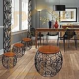 Banco banqueta cadeira de madeira e ferro -conjunto jadim marca artesanatos rusticos