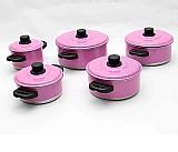 Panela de aluminio 5 pcs rosa pink   1 fervedor nº12 de brinde  marca aluminio amj linha color