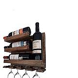 Adega rústica bar de parede rustico 4 garrafas de vinho porta tacas       fabricante arte em madeira