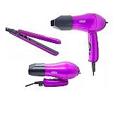 Secador de cabelo bivolt portatil kitviagem 3200w chapinha  marca hackz linha on