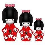 Boneca japonesa kokeshi com 3 pecas varios modelos e cores