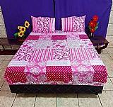 Jogo lencol cama casal. com elastico. 3 pecas. lencol e fronhas. atacado fabrica goiania