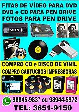 Fita de vídeo k7 para dvd ou pen drive e dvd cd e fotos para pen drive