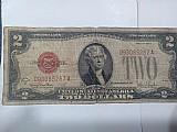 Cedula de us$ 2, 00 1928 serie g carimbo vermelho