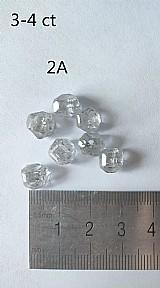 Diamante hpht e bruto 3-4 quilates 2a