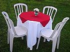 Aluguel de mesa com cadeiras e toalhas no abc sp.