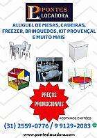 Aluguel de mesas - cadeiras - freezer - brinquedos - enfeite