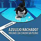 Troca de azulejo com piscina cheia