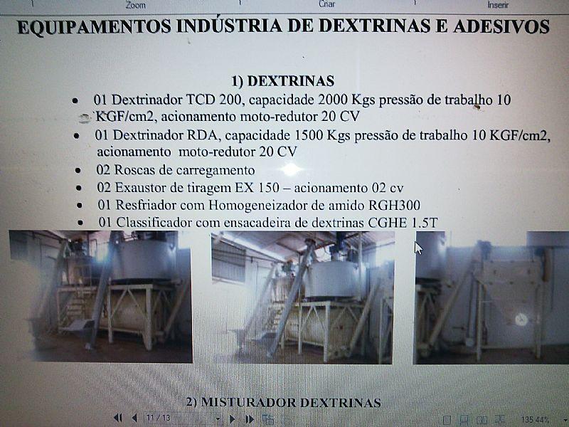 Fabrica seminova p/ transformar fecula de mandioca e amido milho em dextrina