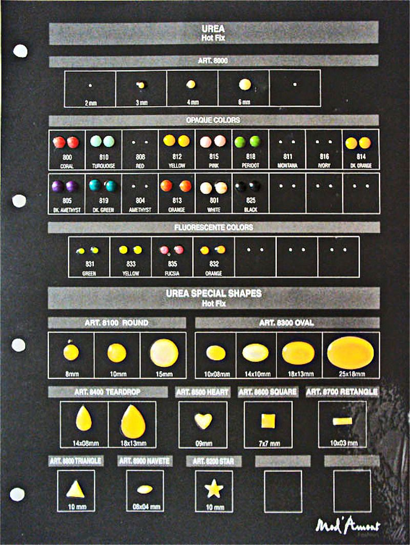 6 cartelas,  (5 frente e verso e 1 so frente),  com modelos de apliques para montagens de bijuterias