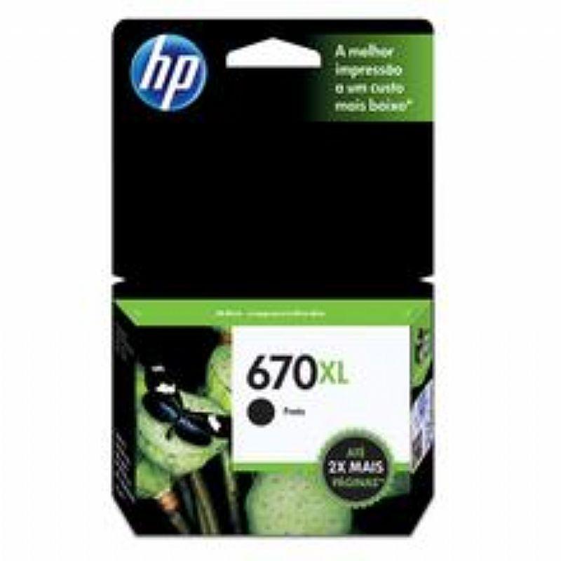 Cartucho de Tinta HP 670XL Preto com alto rendimento