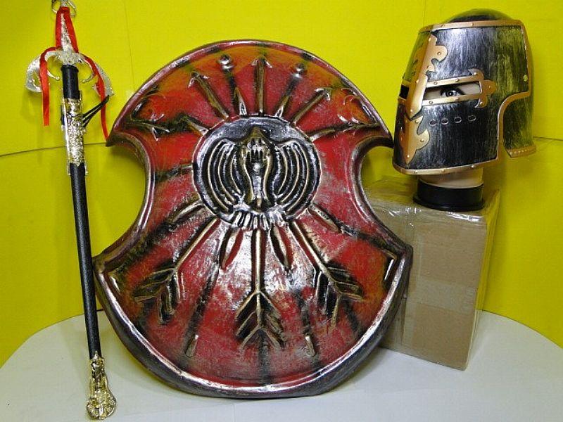Fantasia Show Elmo Capacete Escudo Espada Medieval Armadura
