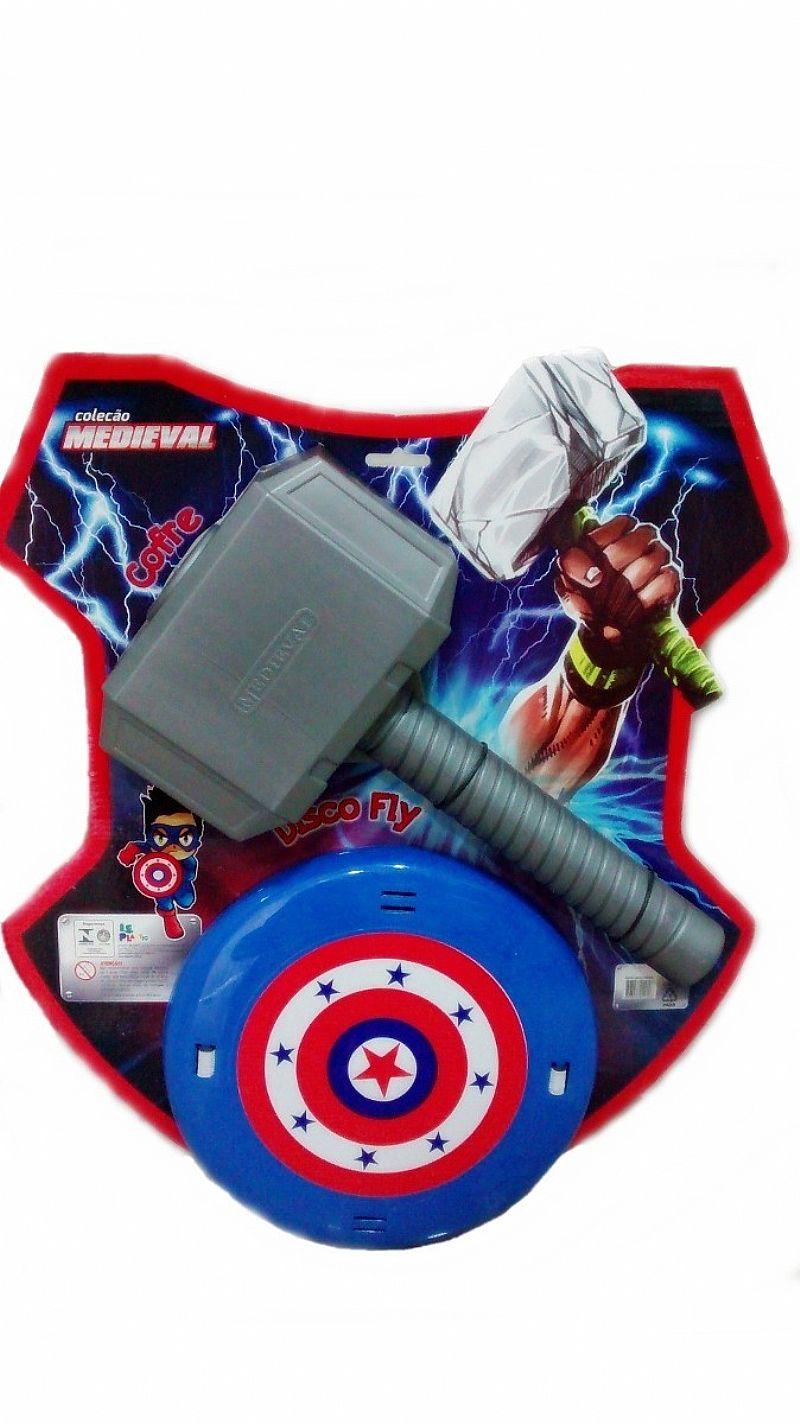 Martelo Thor E Escudo Capitao America Colecao Medieval