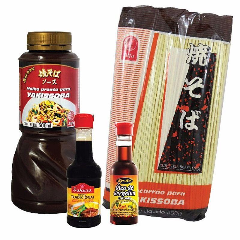 Kit Yakissoba Macarrao Shoyu Oleo Molho Comida Japonesa